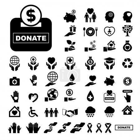 Illustration for Charity and donation icons set. Illustration eps10 Vector - Royalty Free Image
