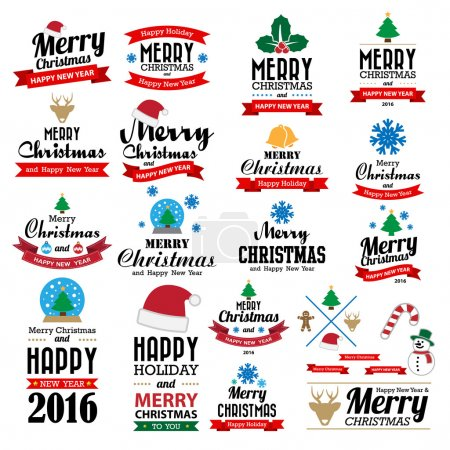 Illustration for Merry Christmas and Happy New Year typographic background,Illustration eps10 - Royalty Free Image