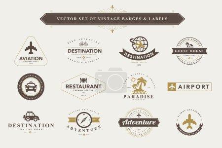 Illustration for Set of vintage travel badges and labels vector illustration - Royalty Free Image