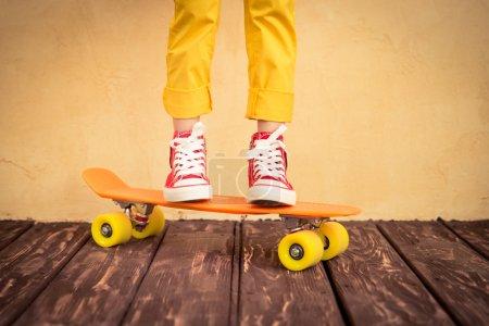 Legs of skateboarder