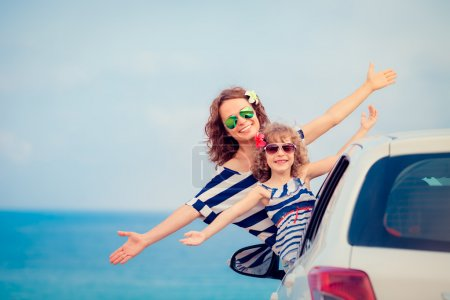 Family on car travel