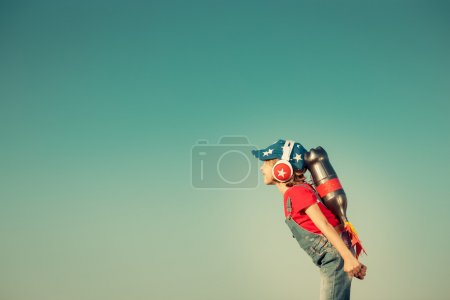 Kid playing with jet pack