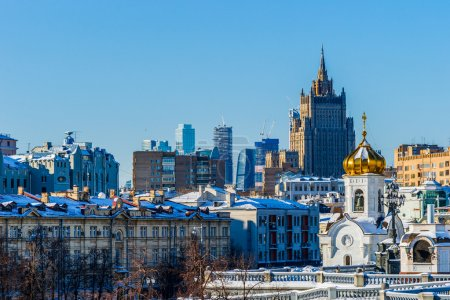 Photo for Moscow skyline and the tall building of the Ministry of Foreign Affairs of the Russian Federation. Architectural details and elements of buildings. Views of buildings and structures, cityscapes - Royalty Free Image