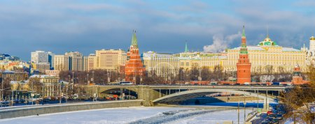 Panorama of Moscow river, the Kremlin and the city