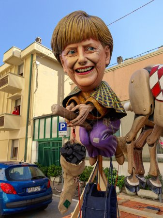 VIAREGGIO, ITALY - FEBRUARY 23:   allegorical mask of German pri