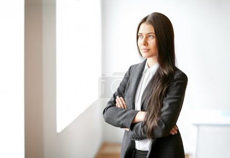 Photo for Portrait of young beautiful businesswoman in the office - Royalty Free Image