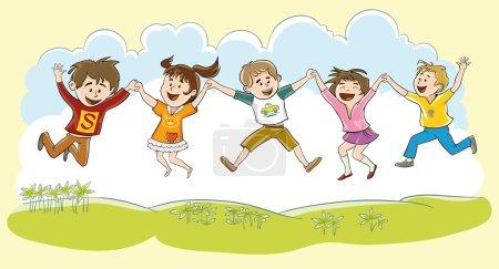 Illustration pour Cinq enfants heureux tenant la main à l'unisson ont sauté dans les airs - image libre de droit