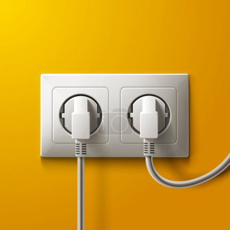 Illustration for Realistic electric white socket and 2 plugs on yellow wall background. RGB EPS 10 vector illustration - Royalty Free Image