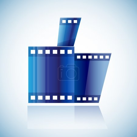 Curled blue cinema tape film
