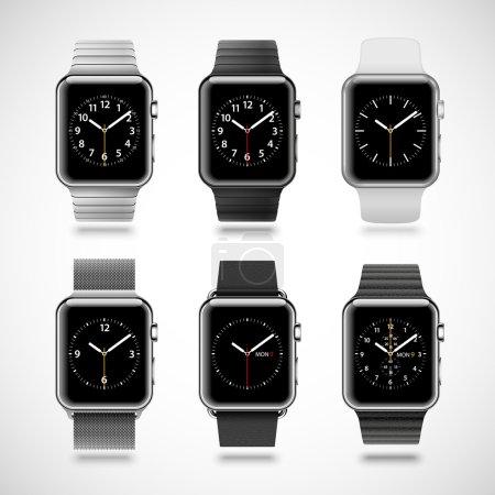 modern shiny smart watches