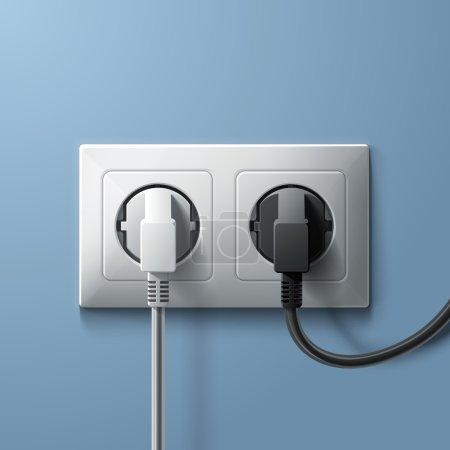 Illustration pour Prises électriques blanches et noires et prise en plastique blanche sur fond mural bleu. illustration - image libre de droit