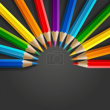 Semicircle of rainbow colored pencils