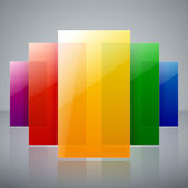 Abstract infographic colorful rainbow shiny transparent rectangles with reflections on light gray background  vector illustration