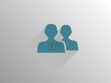 Photo pour Icône longue ombre plate du travail d'équipe - image libre de droit