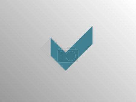 Flat long shadow icon of check box