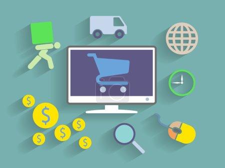 Illustration pour Vector Flat Design illustration de style du concept de commerce électronique - image libre de droit