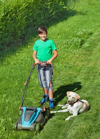 Young boy mowing the lawn accompanied by his labrador doggie