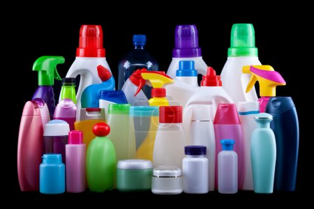 Photo for Usual plastic bottles from a household isolated on black - pollution and environment concept - Royalty Free Image