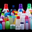 Usual plastic bottles from a household isolated on...