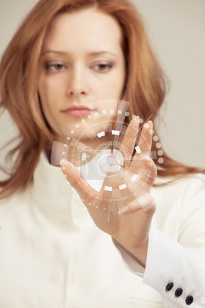 Photo for Future technology. Touch button interface. Woman working with futuristic interface - Royalty Free Image