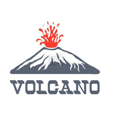 Volcano eruption logo, vector illustration on white background