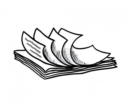 Illustration for Stack of white papers, hand drawn style, vector illustration - Royalty Free Image