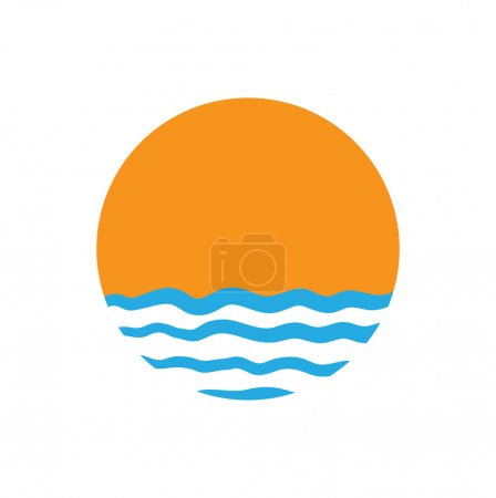 Illustration for The sun and the sea. Vector logo illustration - Royalty Free Image