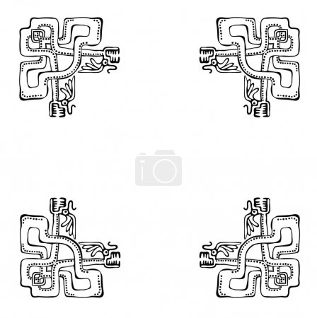 Black corners elements with dragons, vector