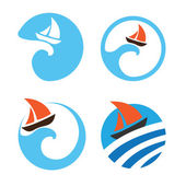 Yachts and sailing boats Set of vector logos