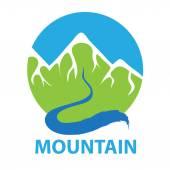 Mountain and river vector logo
