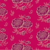 Red peony floral sketch spring flower vector illustration black and white hand drawn seamless pattern bright luxury color flowing motif