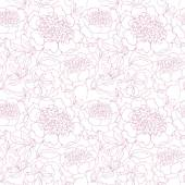 Rosy peony floral sketch spring flower vector illustration black and white hand drawn seamless pattern pastel color flowing motif