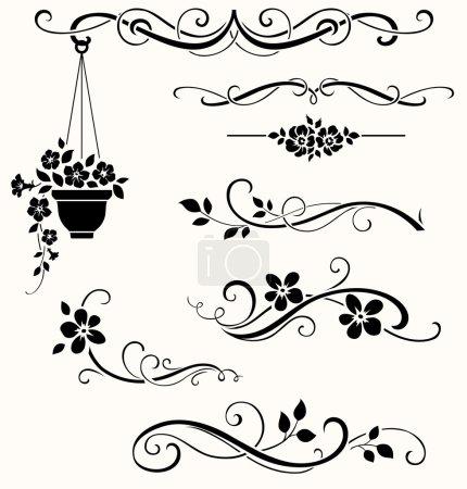 Photo pour Éléments de décoration florale noire sur fond blanc - image libre de droit