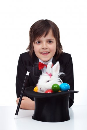Boy performing easter magic