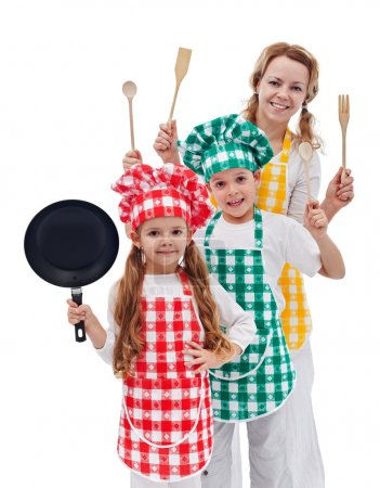 Chefs team ready to cook - kids and their mother