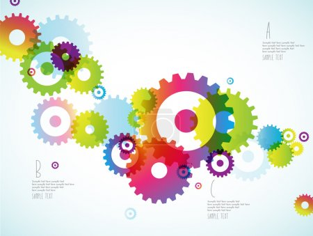 Illustration for Abstract colorful toothed wheels background for power point and place for your points. - Royalty Free Image
