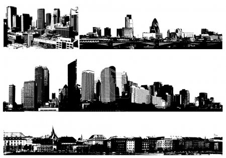 Black and white panorama cities. Vector art