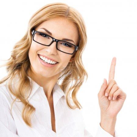 Photo for Cheerful smiling thinking businesswoman in glasses, showing one finger or idea gesture, isolated against white background - Royalty Free Image
