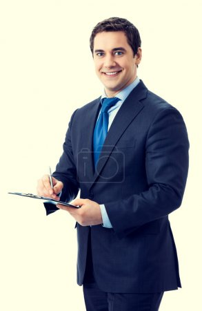 Happy smiling businessman with clipboard writing