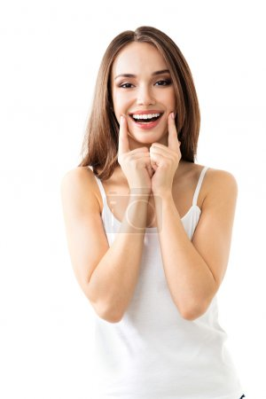young woman showing smile