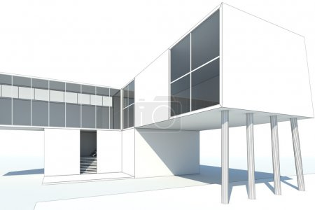 3d rendering modern white building with blueprints