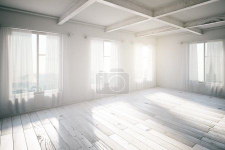 Blank bright loft interior with windows and sunlight