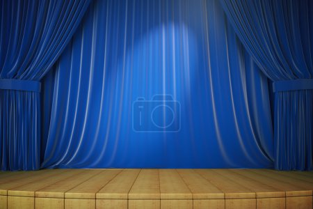 Wooden stage with blue curtains and spotlight, 3d render