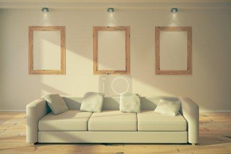 Blank frames in loft interior