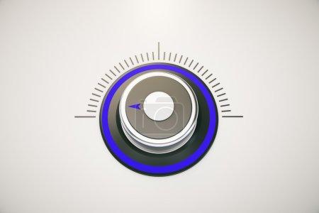Photo pour Commutateur bleu sur faible chaleur / volume / puissance sur fond clair. Expéditeur 3D - image libre de droit