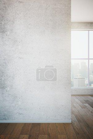 Photo pour Fermeture du mur en béton dans la chambre avec sol en bois et fenêtre avec vue. Maquette, 3D Render - image libre de droit