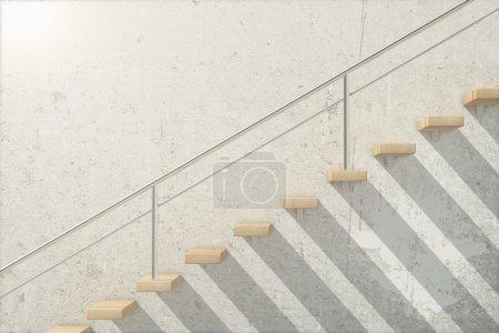 Photo pour Vue latérale d'un escalier en bois à l'extérieur du bâtiment de béton. rendu 3D - image libre de droit