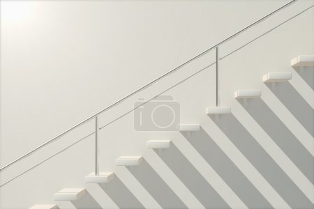 Photo for Side view of white stairs outside concrete building. 3D Render - Royalty Free Image