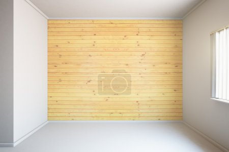Photo for Blank wooden wall in concrete room interior with window. Mock up, 3D Render - Royalty Free Image