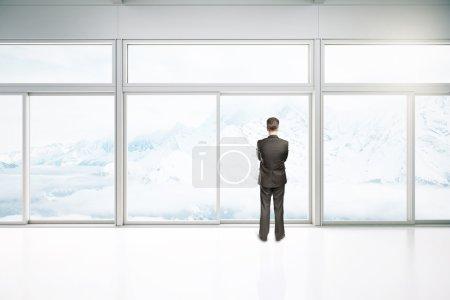 Interior with businessman